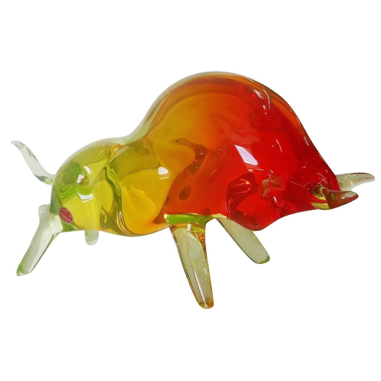 Murano Red Amp Yellow Glass Bull Figure Chairish