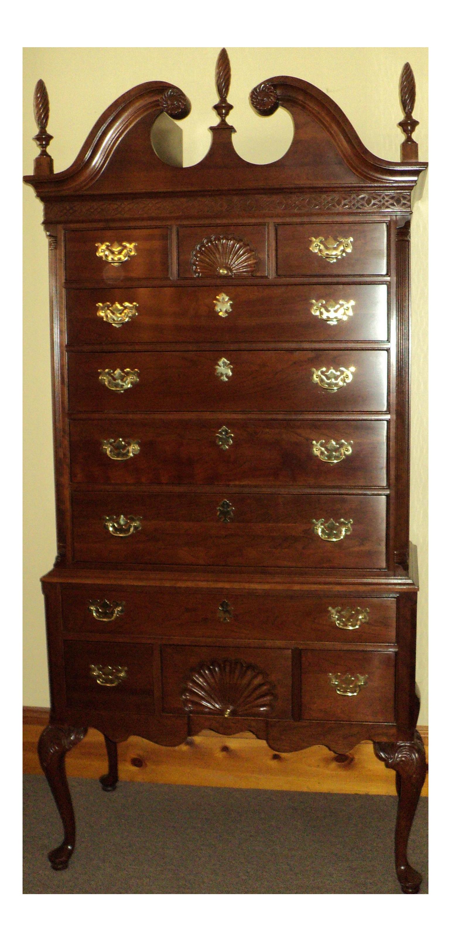 Ethan Allen Knob Creek Collection Queen Anne Solid Cherry Highboy Dresser Chairish