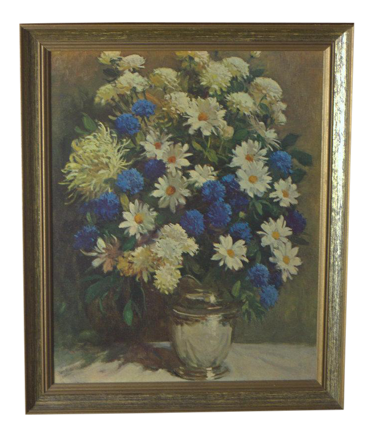 Vintage Rudolph Colao Daisies And Cornflower Print Chairish