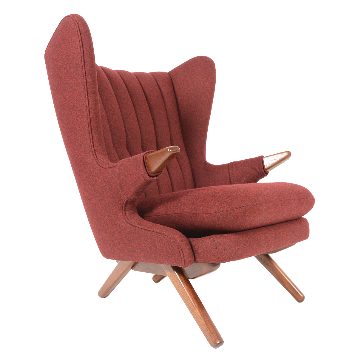 Svend skipper model 91 burgundy lounge chair chairish for Burgundy chaise lounge