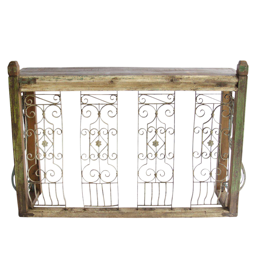 Iron balcony console table chairish for Balcony console