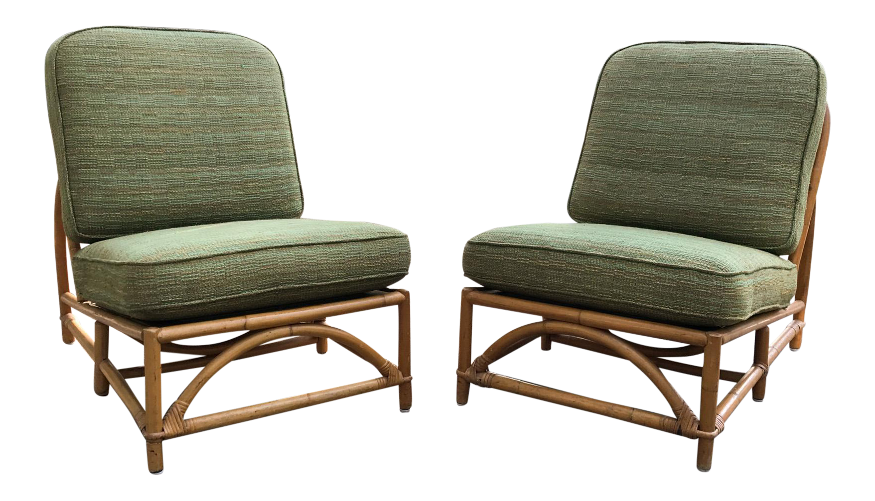 Antique lounge chairs - Vintage Ficks Reed Bamboo Lounge Chairs A Pair