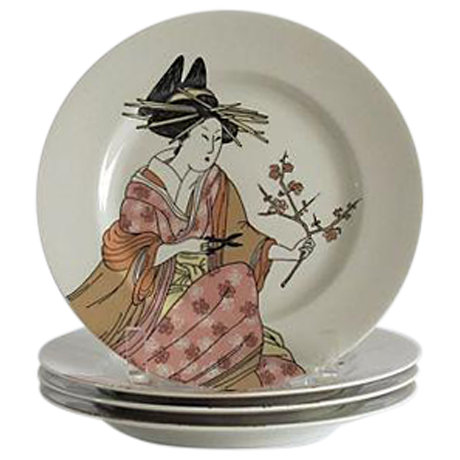 Fitz Amp Floyd Vintage 1976 Geisha Plates Set Of 4 Chairish