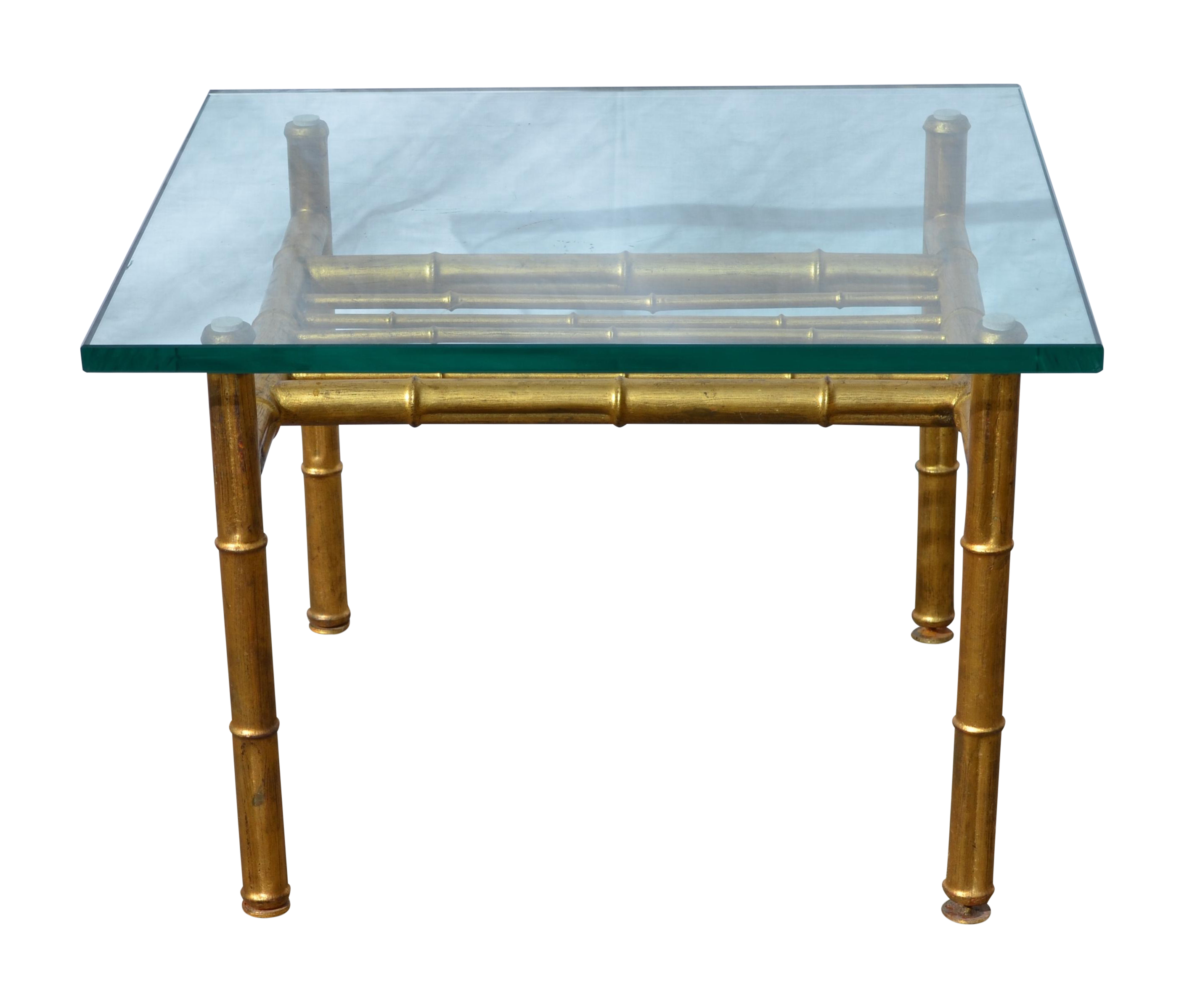 Long Bamboo Coffee Table: Gold Faux Bamboo Metal Coffee Table