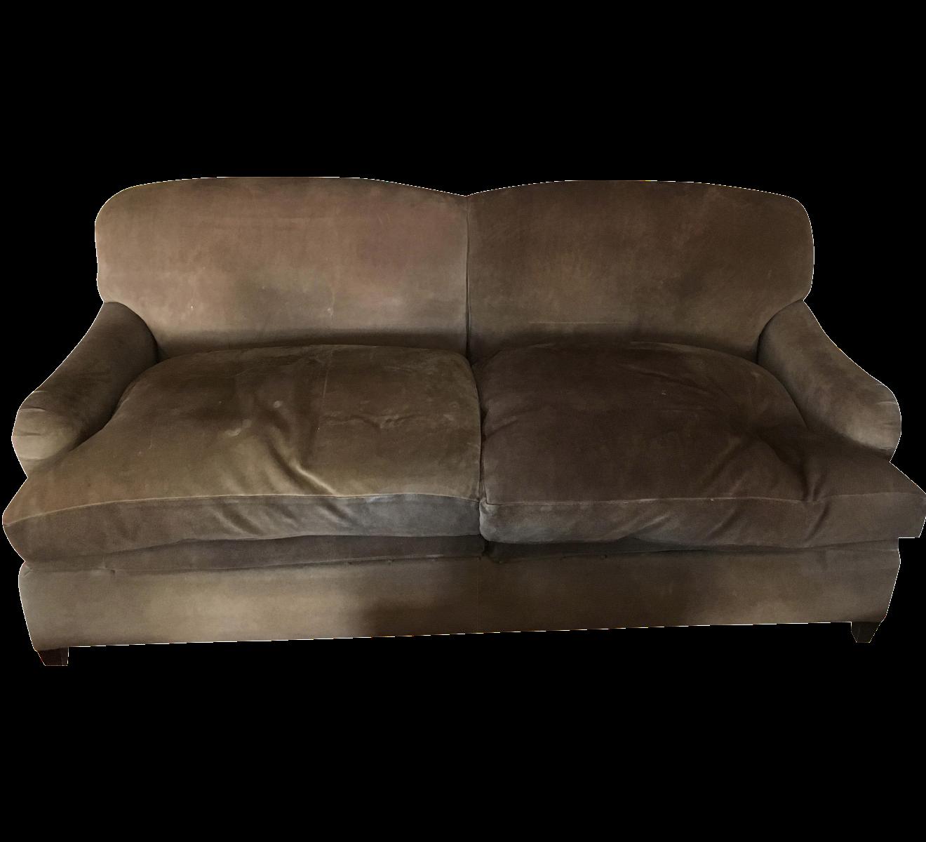 George Smith Suede Sleeper Sofa Chairish