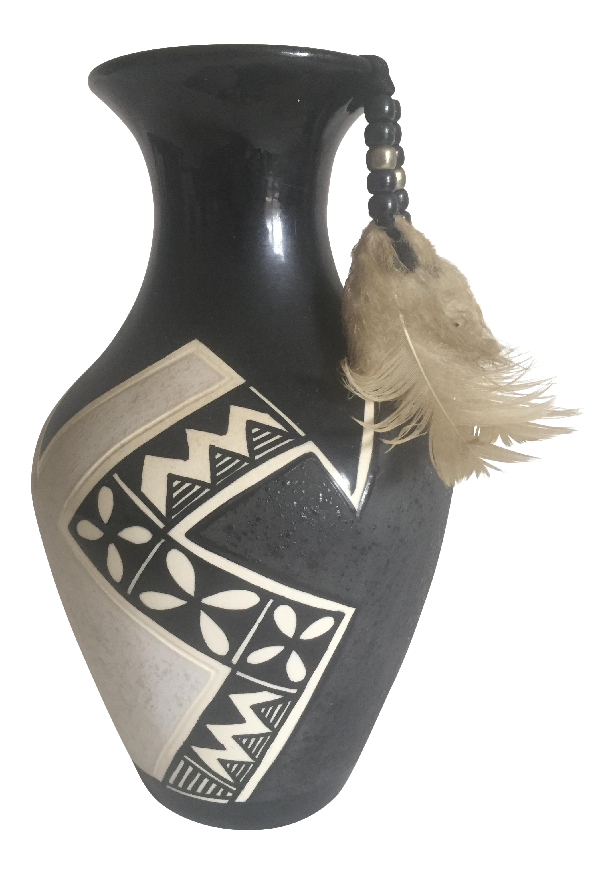 Vintage Native American Black Amp White Ceramic Feather Vase