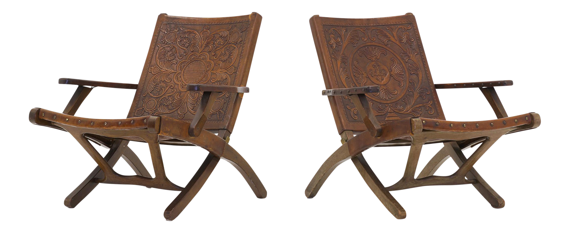 World Class Pair of Ecuadorian folding chairs by Angel I Pazmino