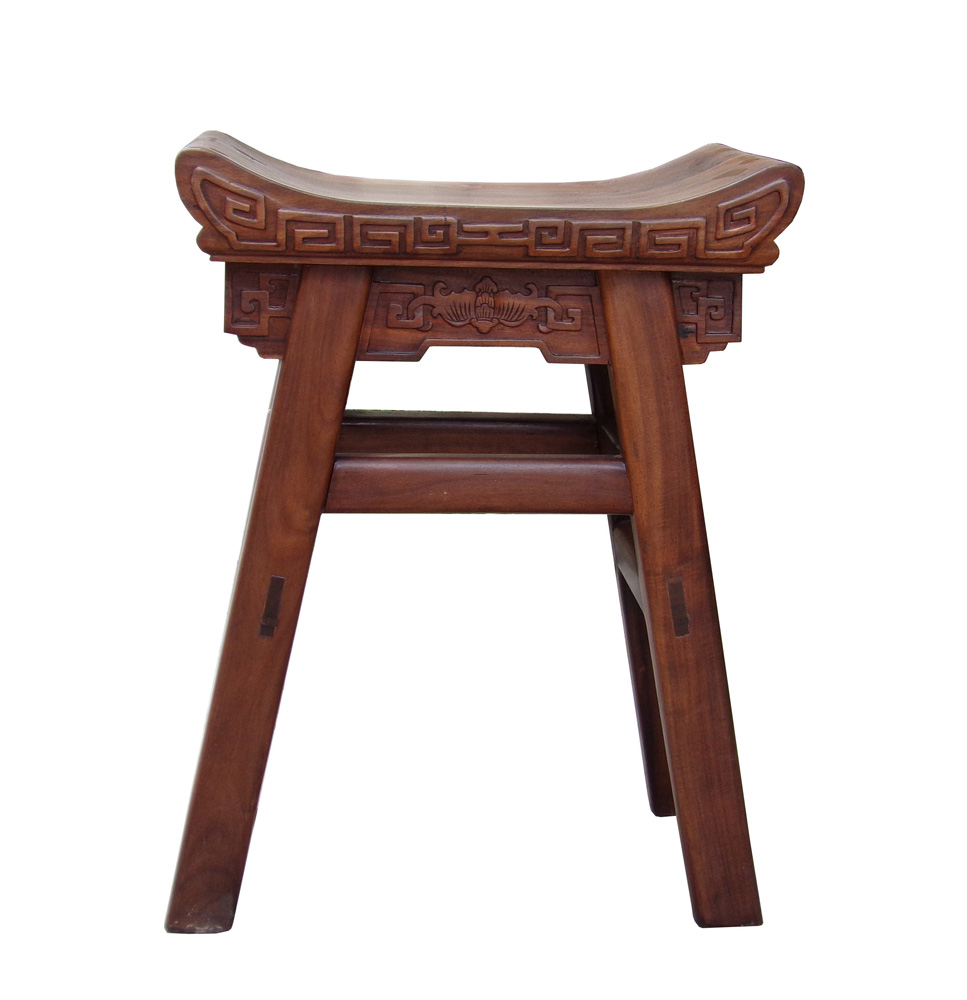 Chinese Handmade Accent Curved Wood Stool Chairish