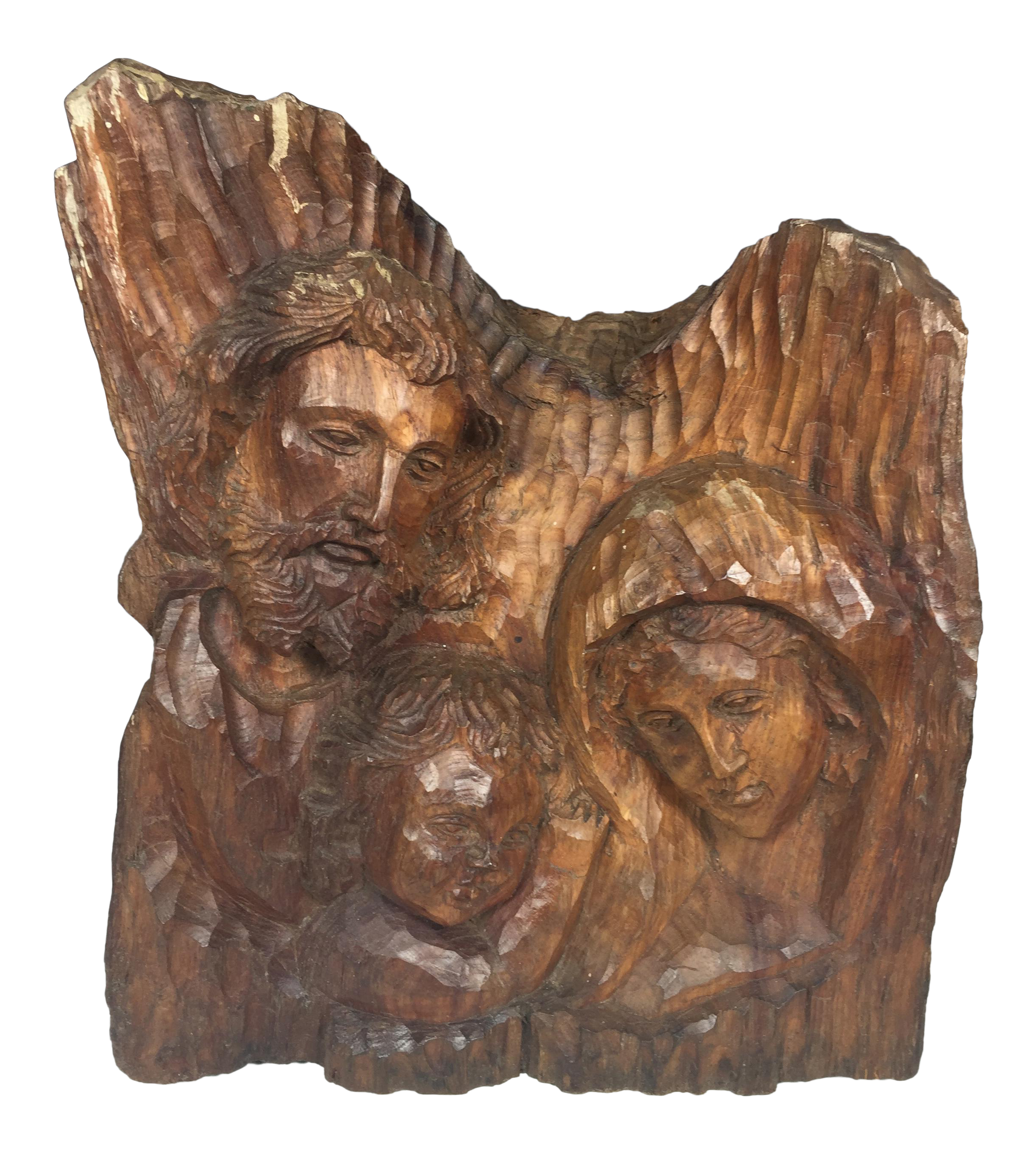 Vintage Carved Wood Religious Sculpture Of Holy Family