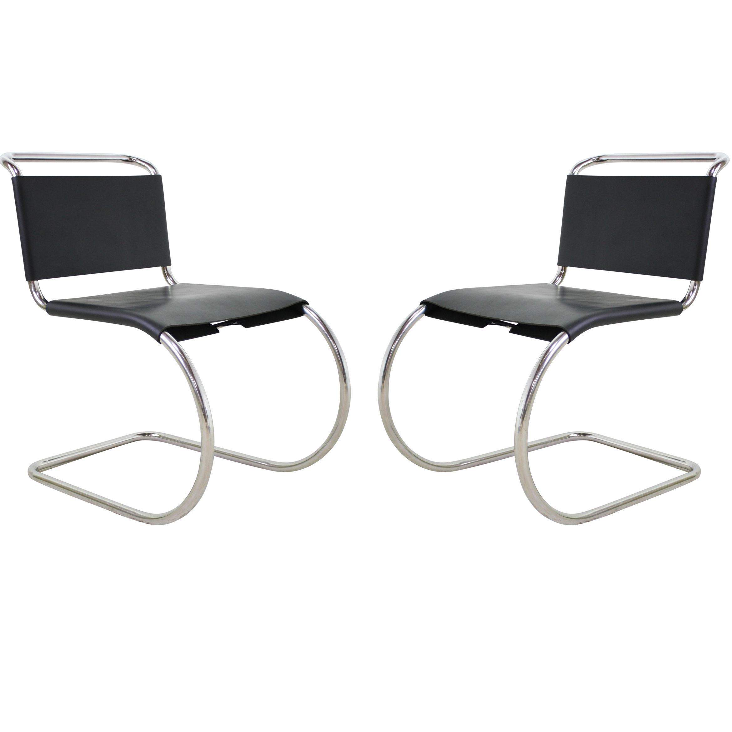Mies Van Der Rohe Leather Cantilever Chairs Pair