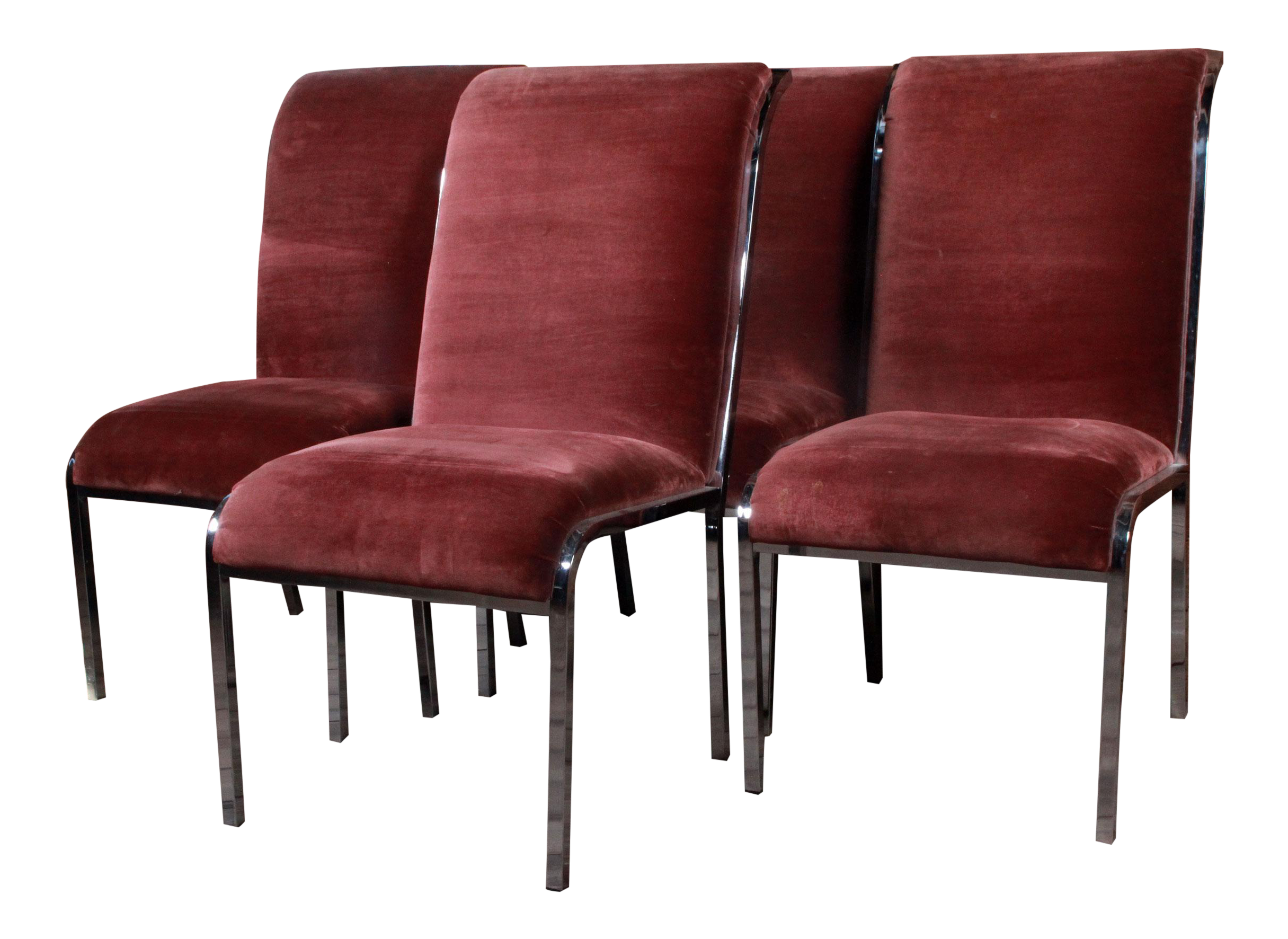 Milo Baughman Chrome & Velvet Dining Chairs Set of 4
