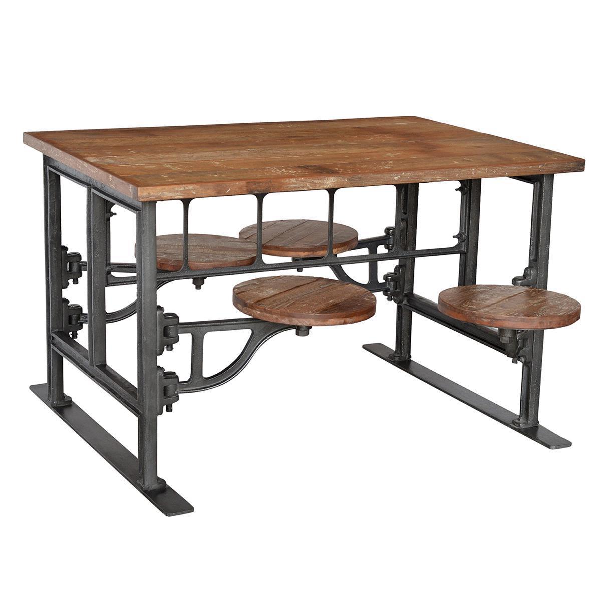 Rustic Reclaimed Wood amp Iron Table Stools Chairish