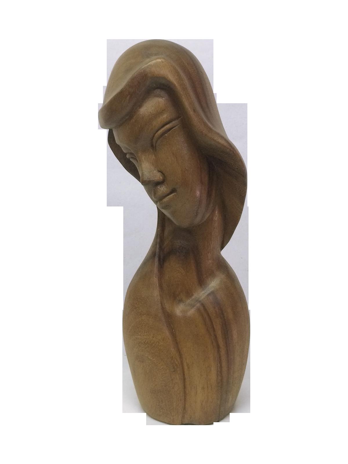 Carved female bust in dark wood chairish