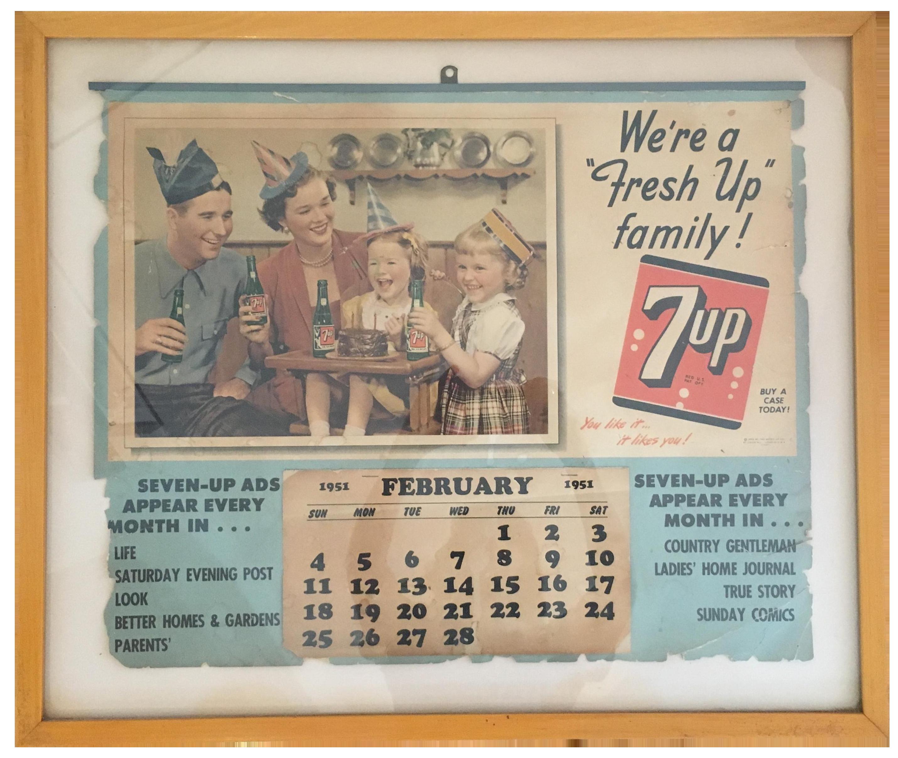 image of 1951 7 up framed calendar