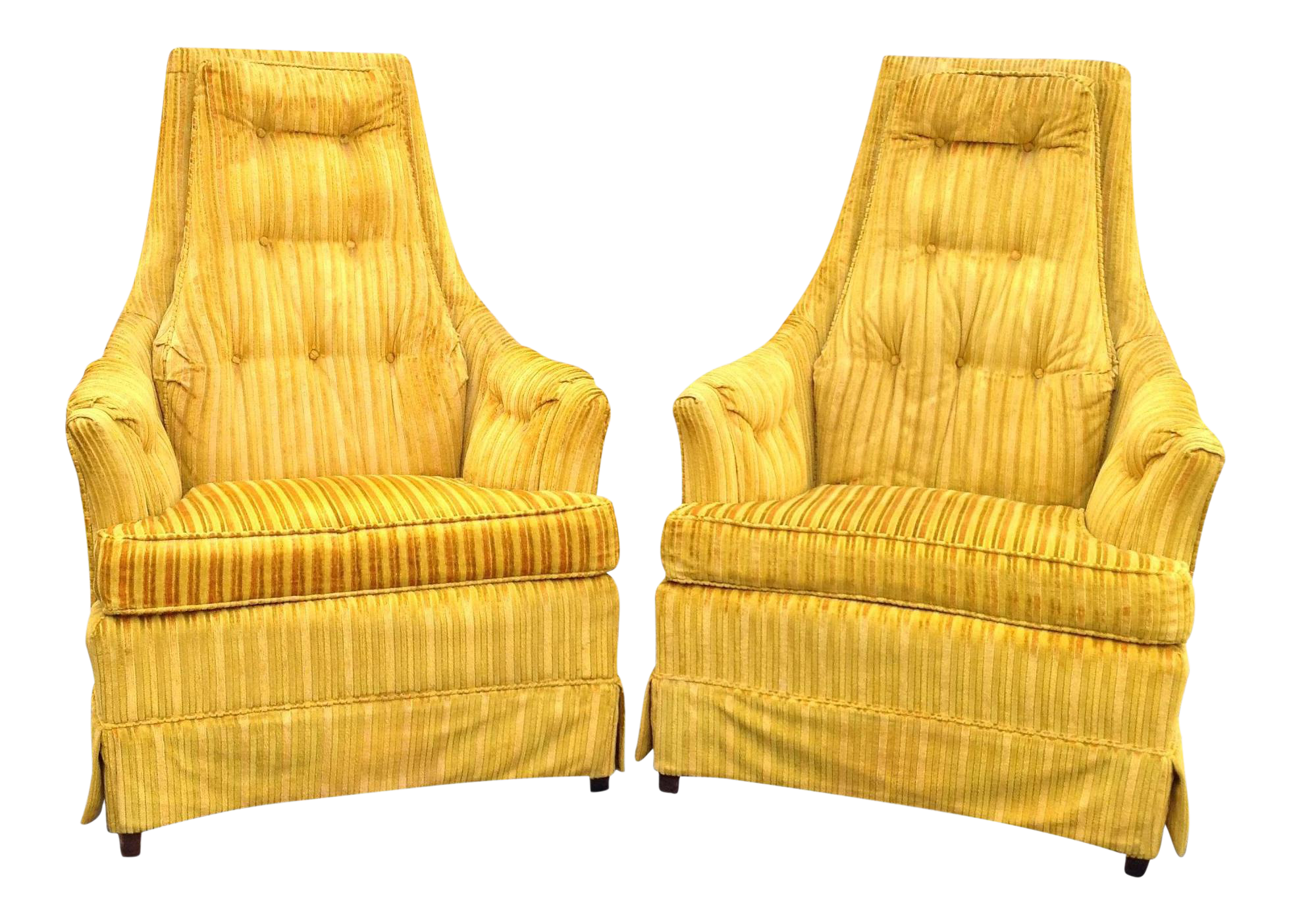 Yellow Velvet Lounge Chairs A Pair