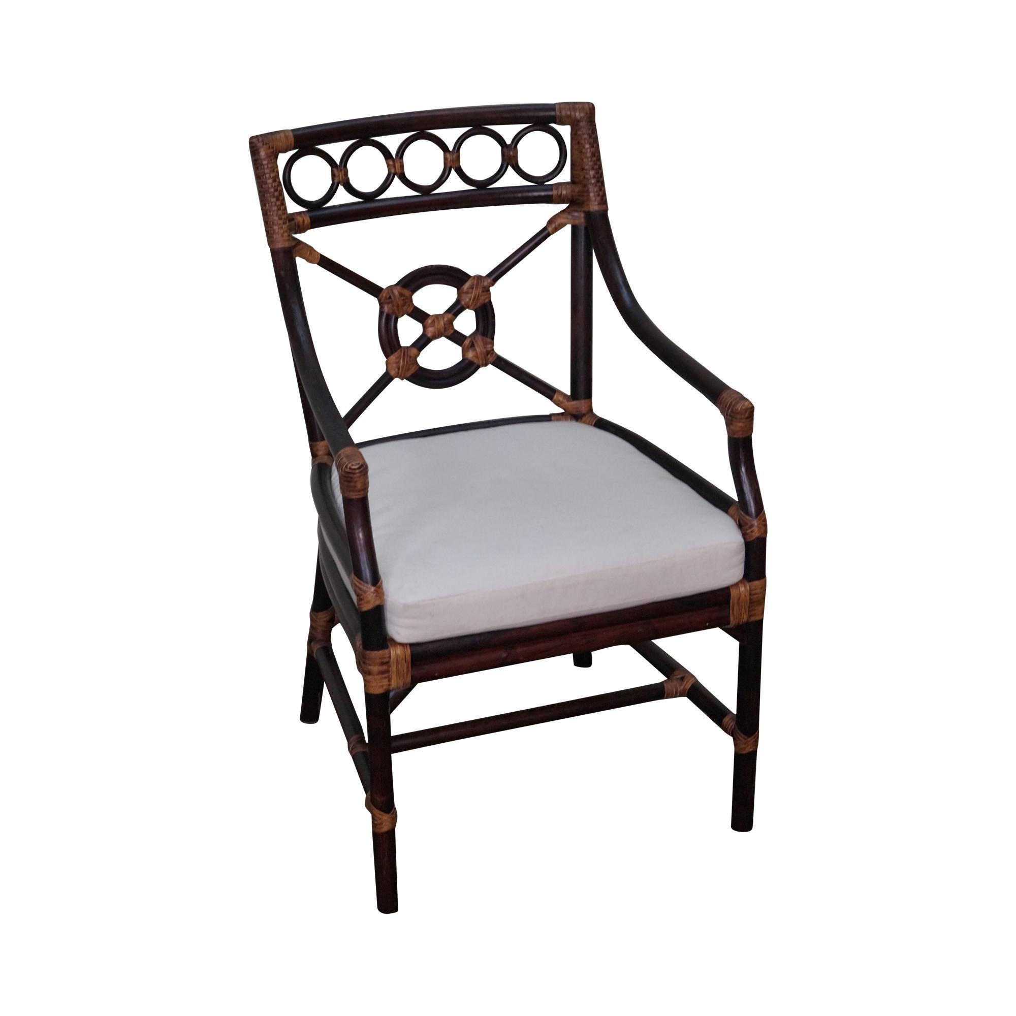 Mcguire Style Rattan Bamboo Bulls Eye Back Arm Chair