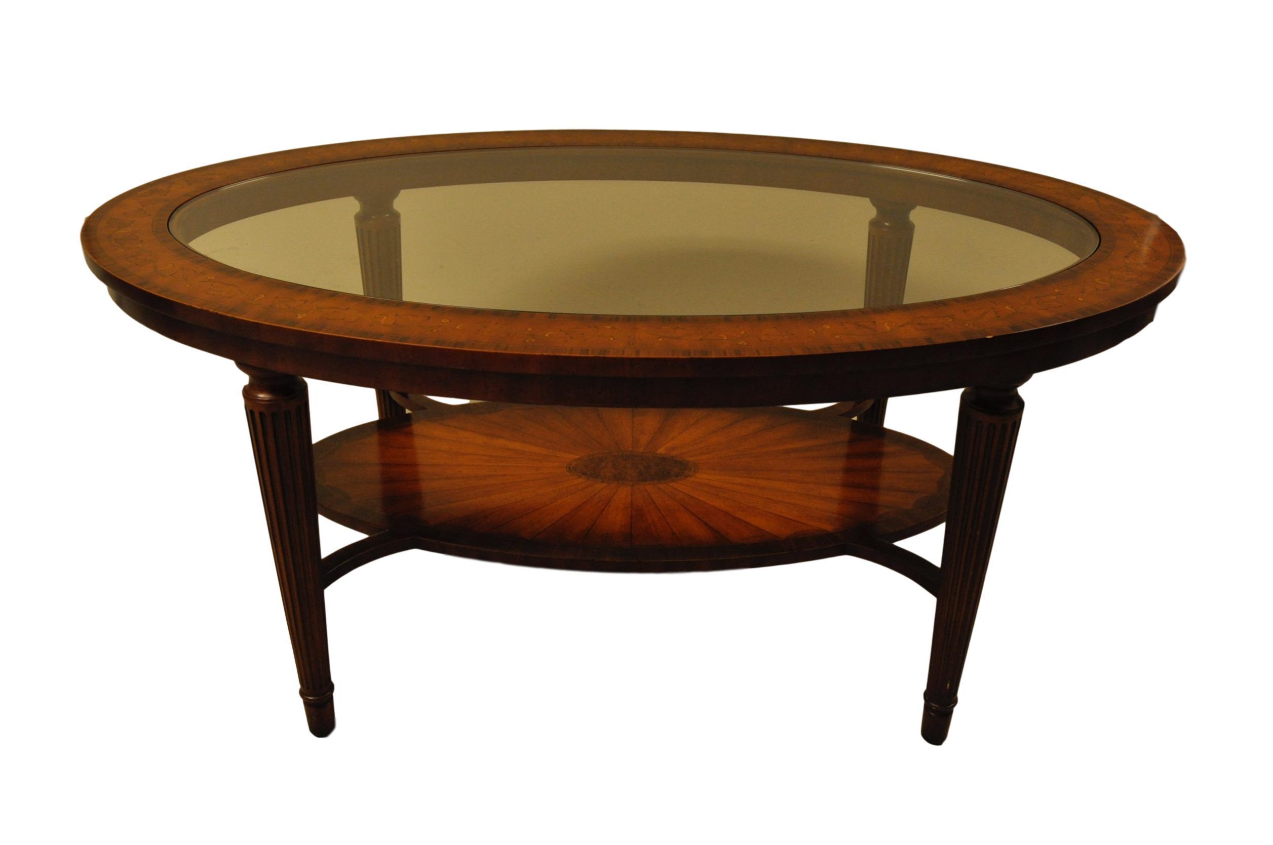 Maitland smith glass mahogany coffee table chairish for Table 52 art smith