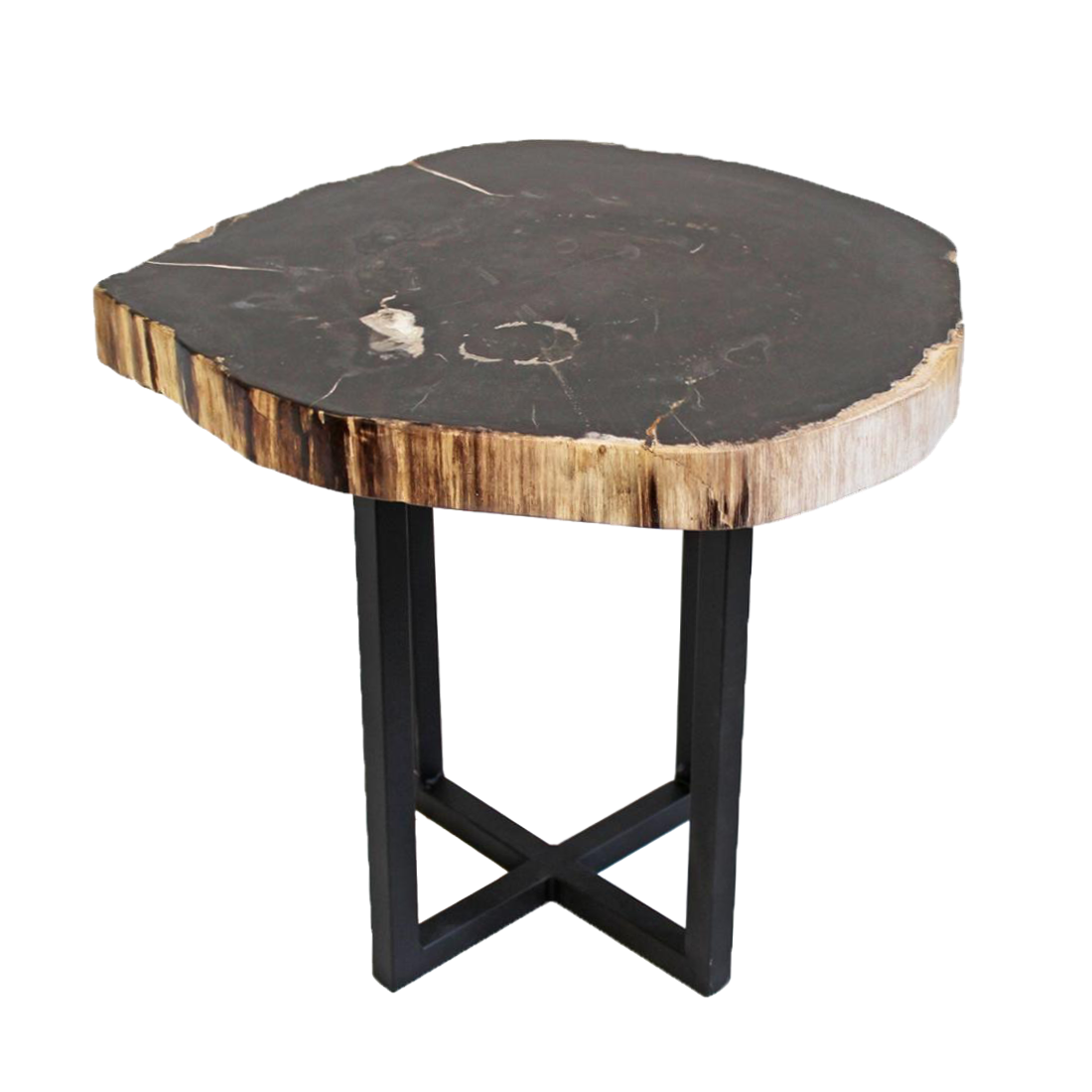 Petrified wood side table chairish