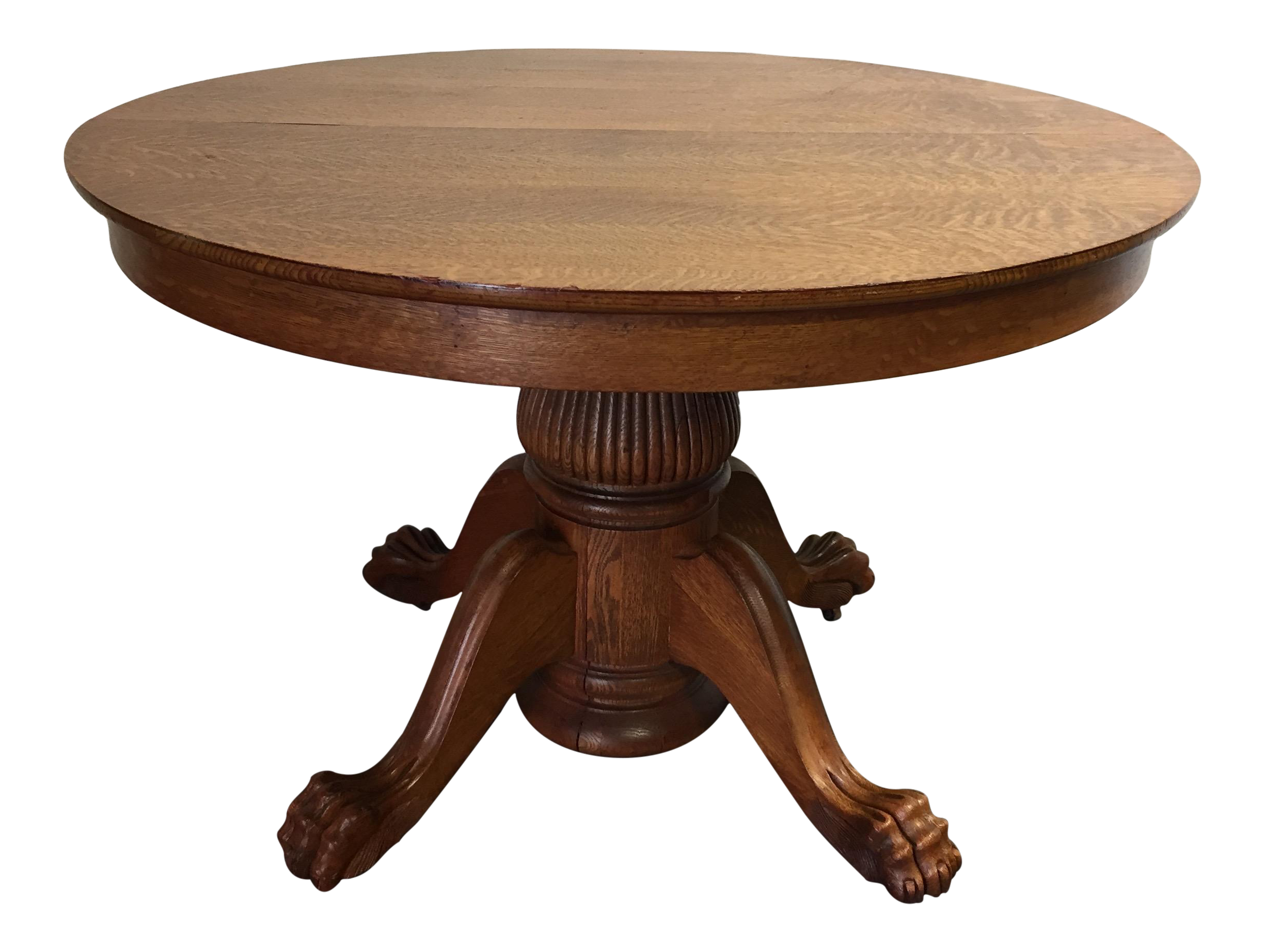 Antique Victorian Tiger Oak Round Dining Table Chairish