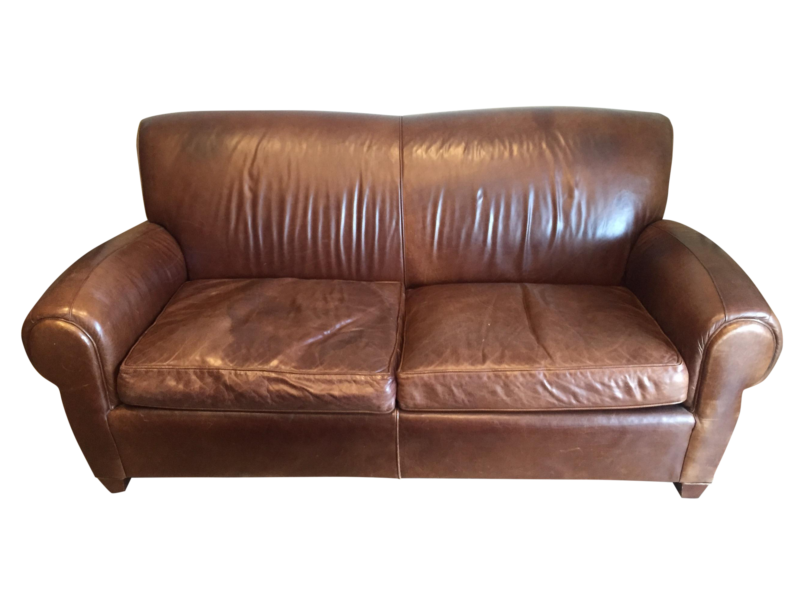 Manhattan Leather Sofa Pottery Barn Manhattan Leather Love Seat Sofa Chairish TheSofa