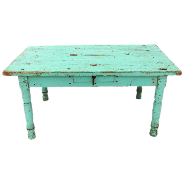 Mexican Trunk Coffee Table: Rustic Mexican Turquoise Painted Coffee Table