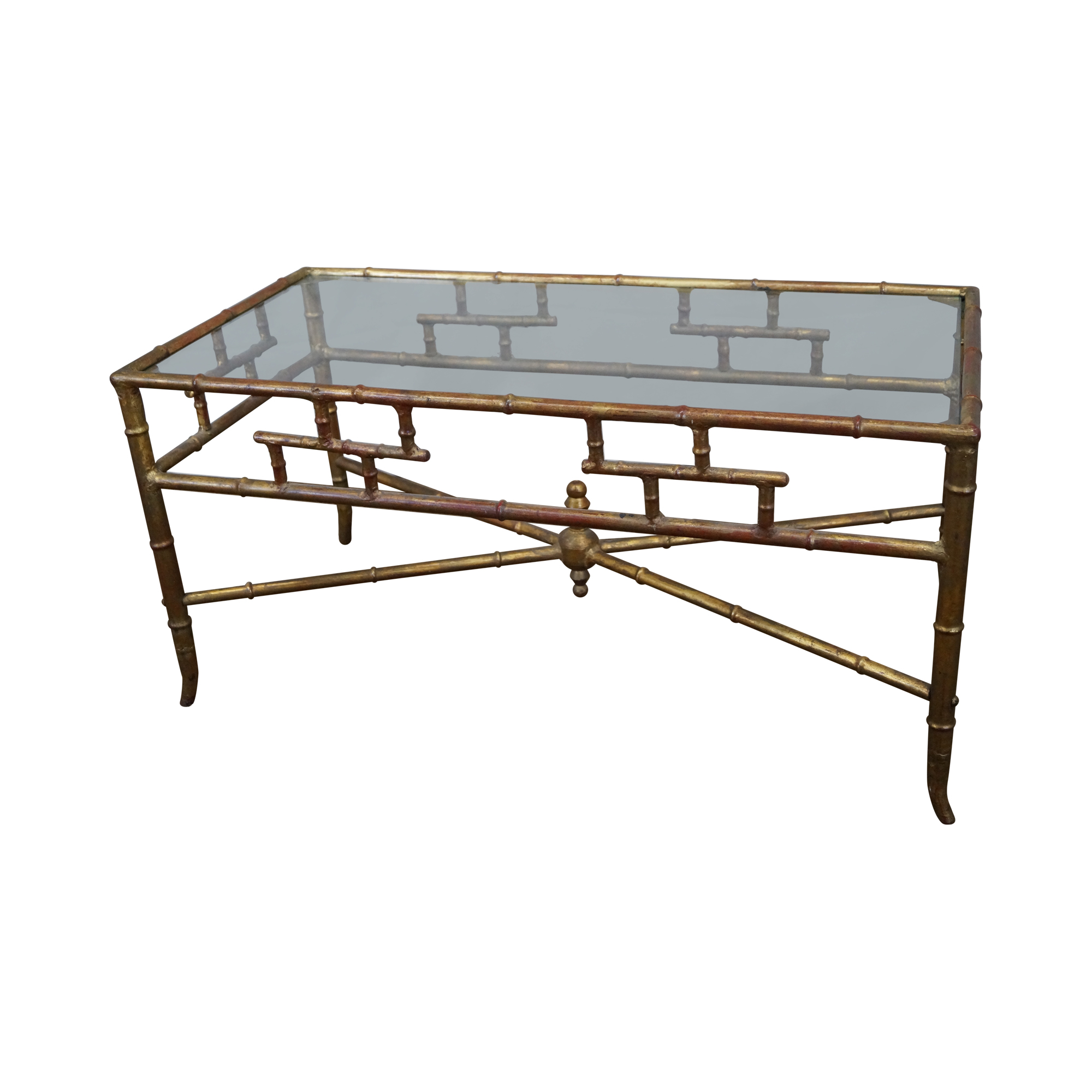 hollywood regency faux bamboo gilt coffee table | chairish