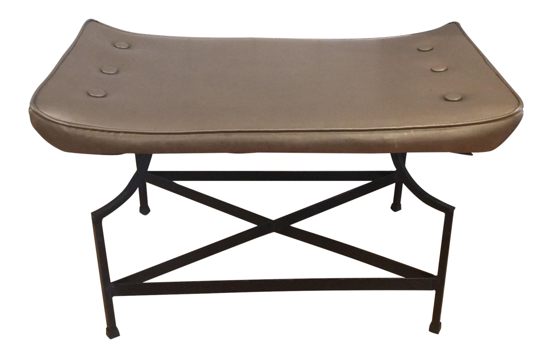 Mid Century Gold Vinyl Bench Chairish