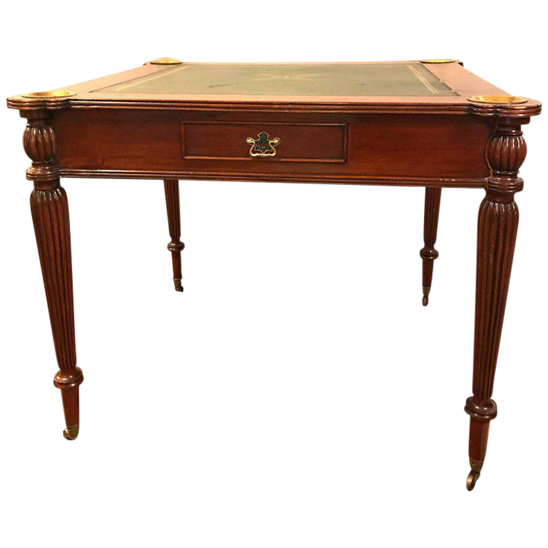 Leather top mahogany georgian style card table in the for Table 52 art smith