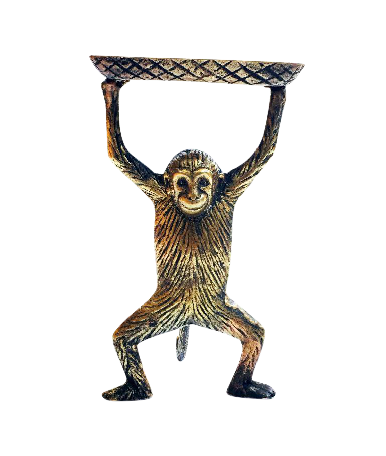 Vintage Brass Monkey Business Card Dish | Chairish