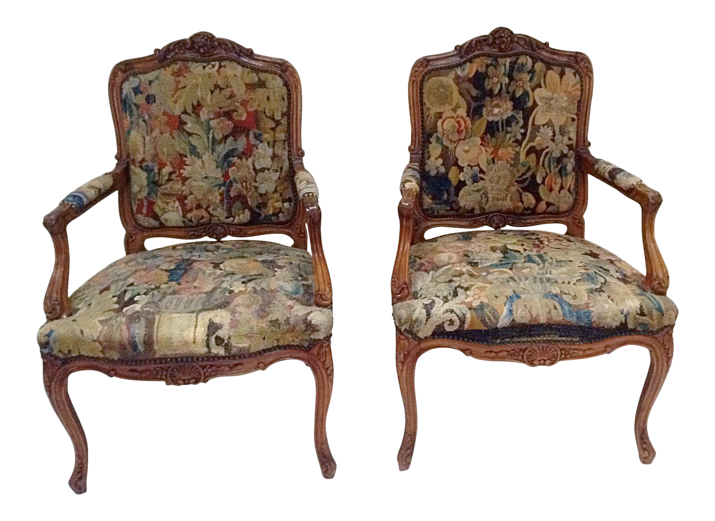 Antique french chairs - Image Of Antique French Tapestry Upholstered Chairs A Pair
