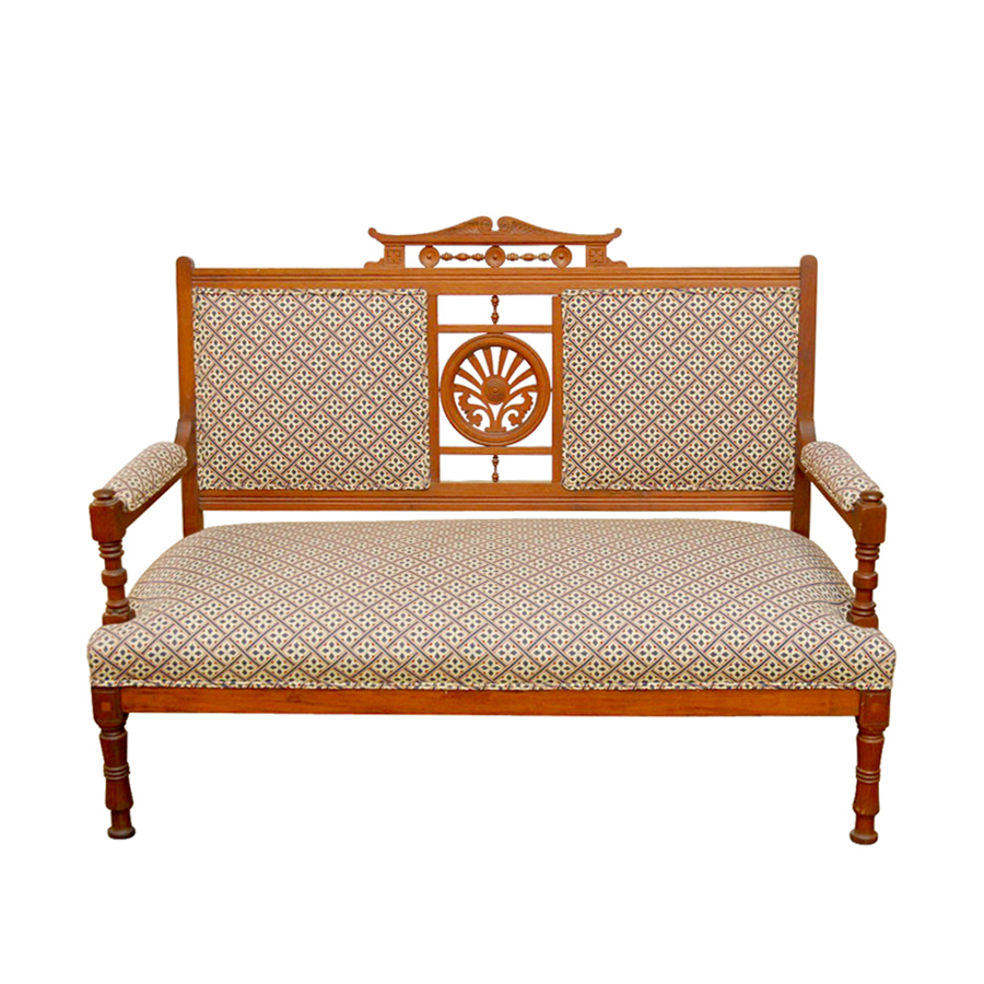 Antique Eastlake Sofa: Victorian Eastlake Parlor Settee