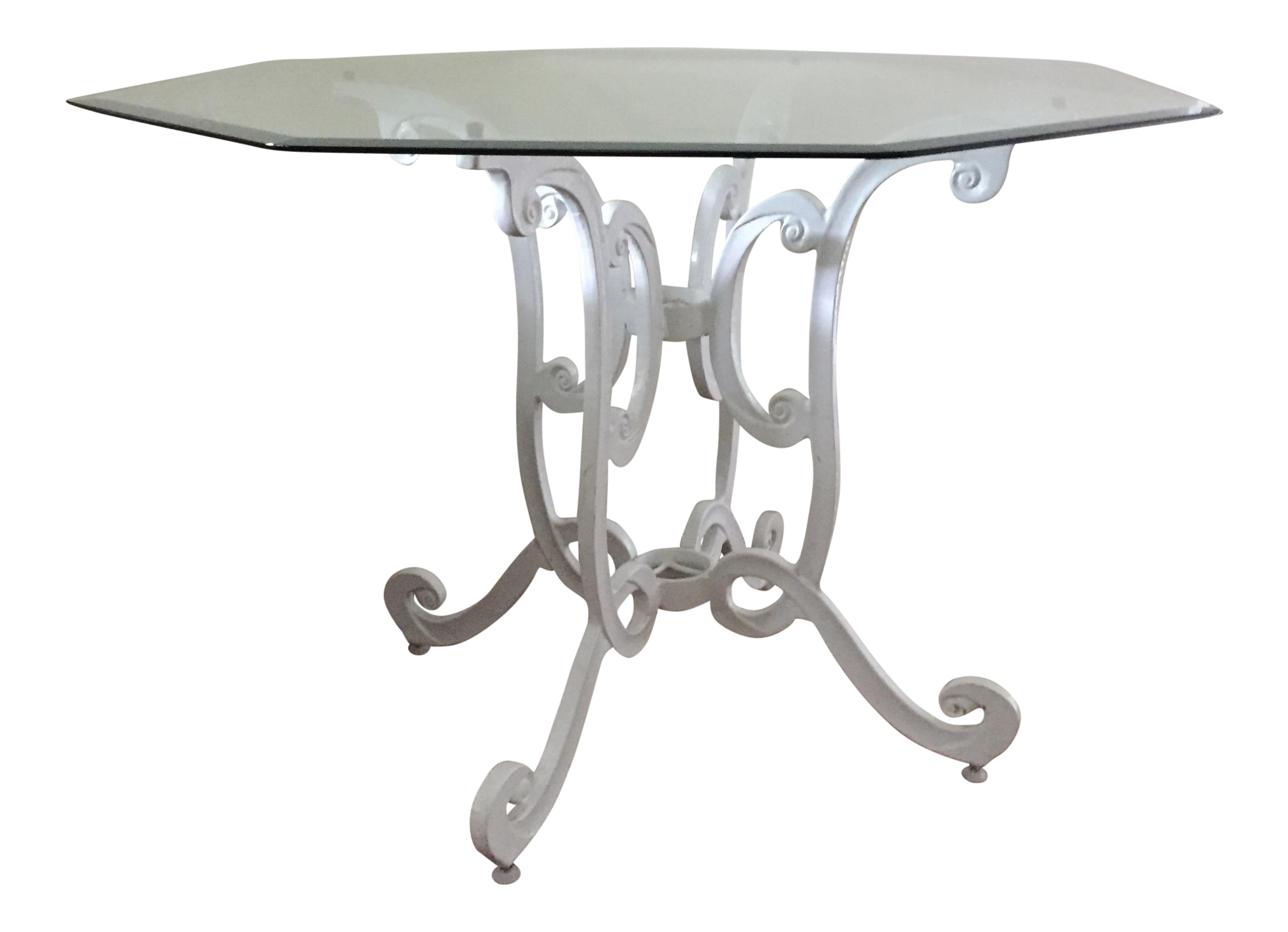 Vintage cast iron dining table with glass top chairish for Cast iron and glass dining table