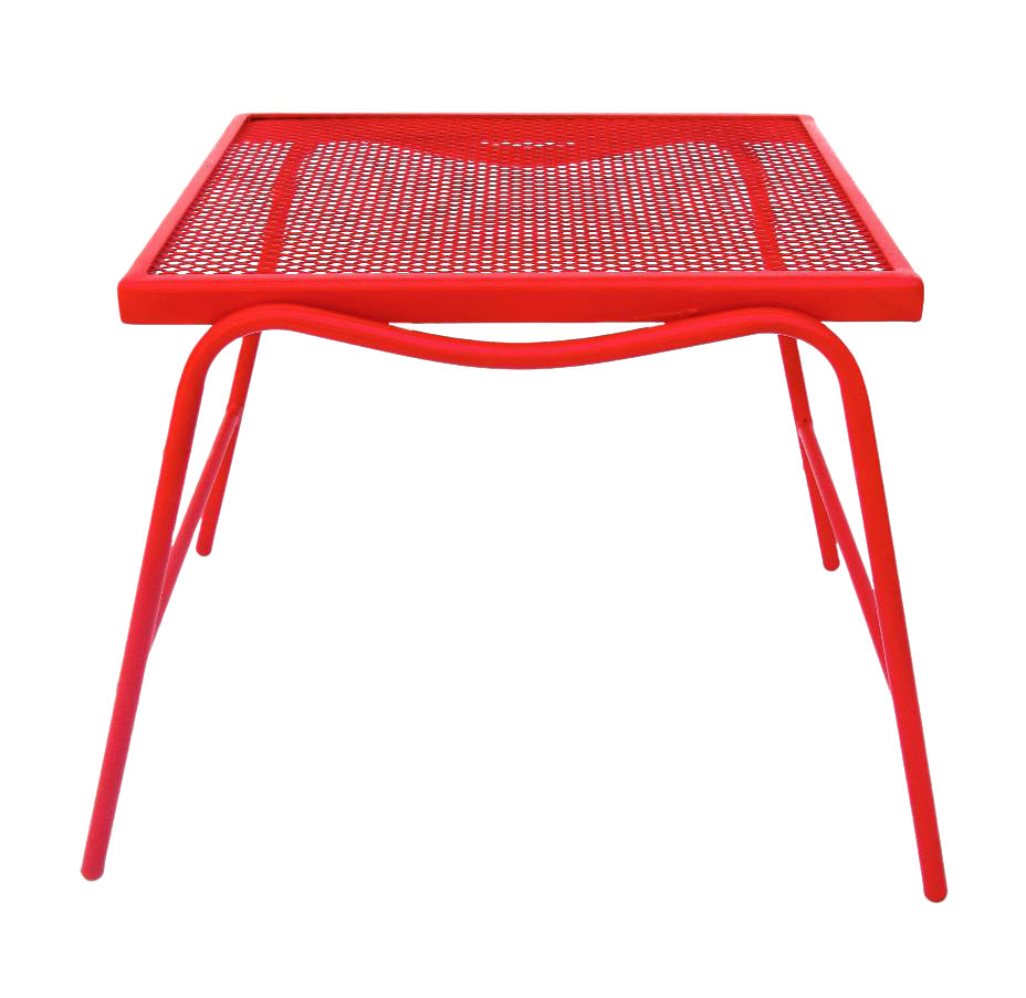 Mid century modern red metal mesh side table chairish for Red side table