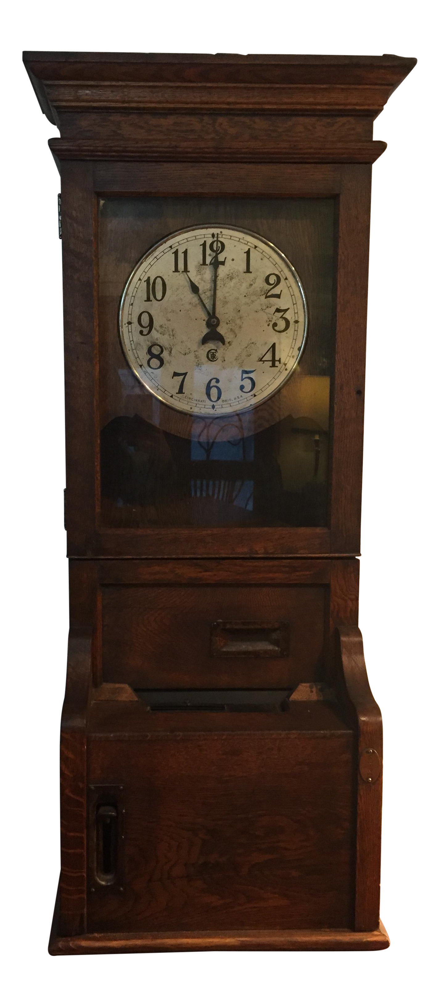 Antique Time Clock Punch Recorder Made Of Quartersawn Oak