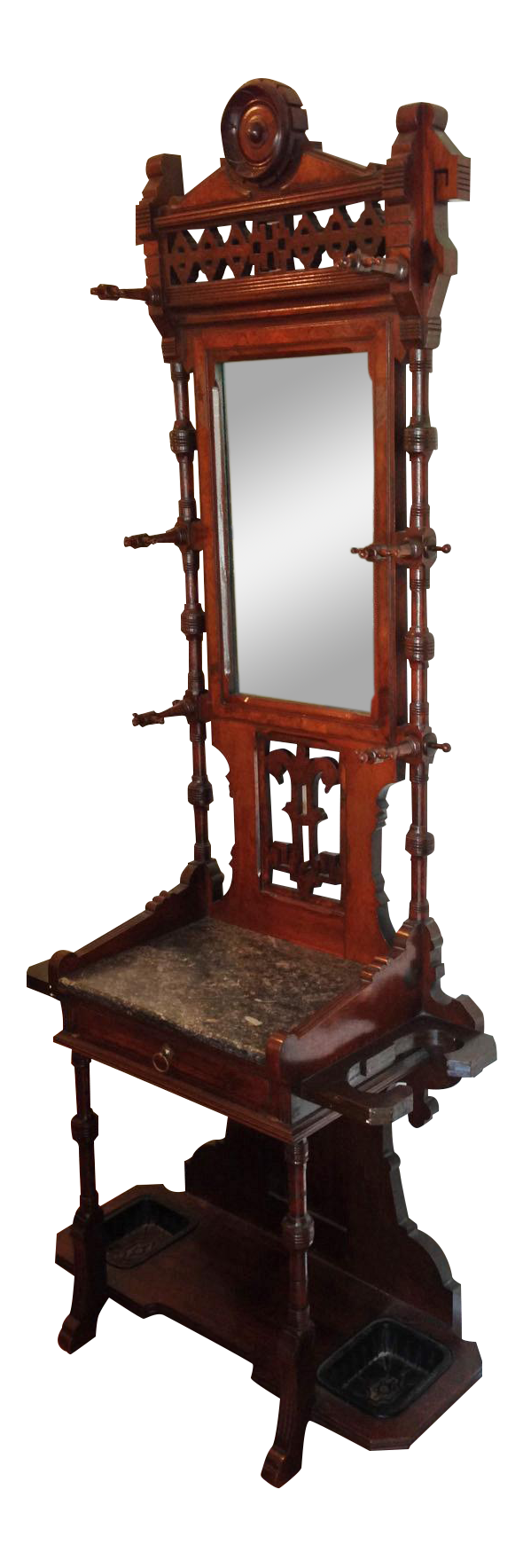 Antique Wooden Hall Tree With Mirror Chairish