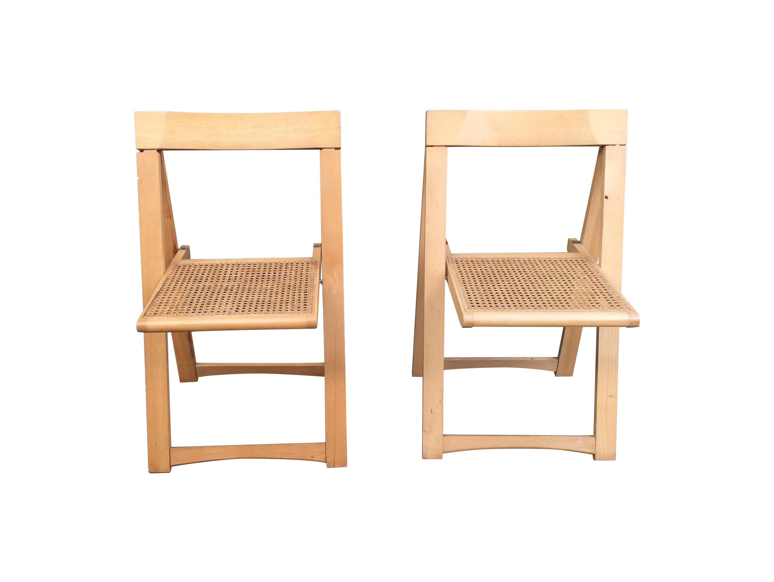 Antique Post 1950 Cane Wood Folding Chairs 2