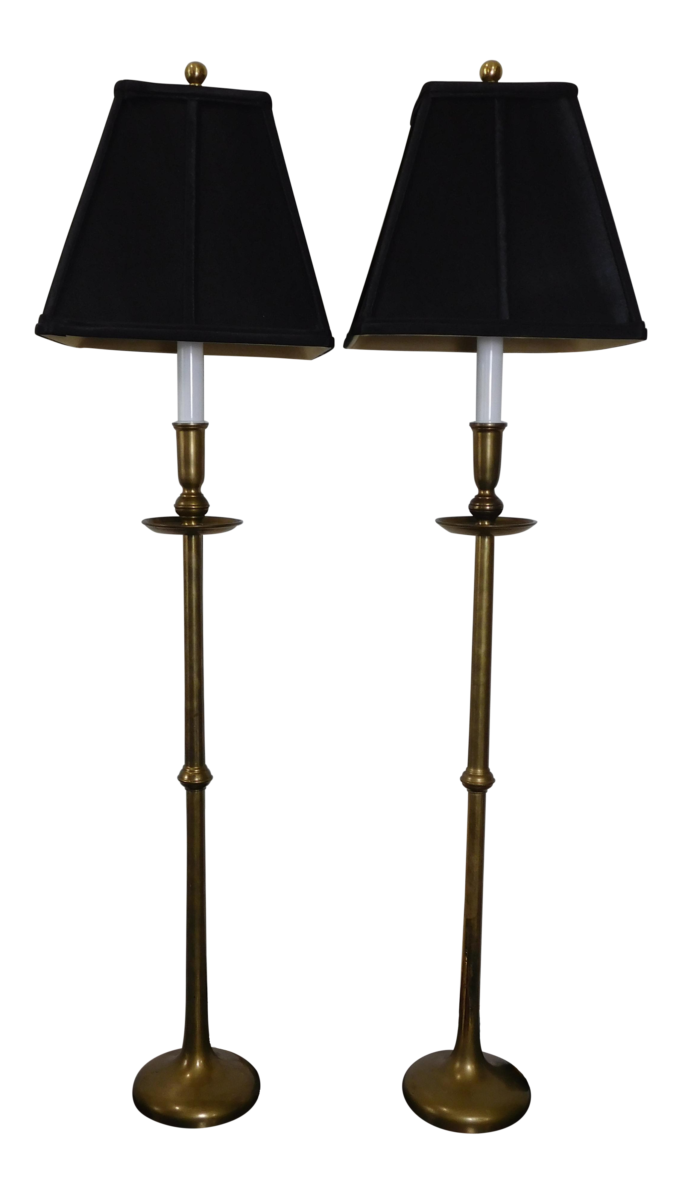 Vintage Maitland Smith Brass Flute Pair Lamps Black Shades