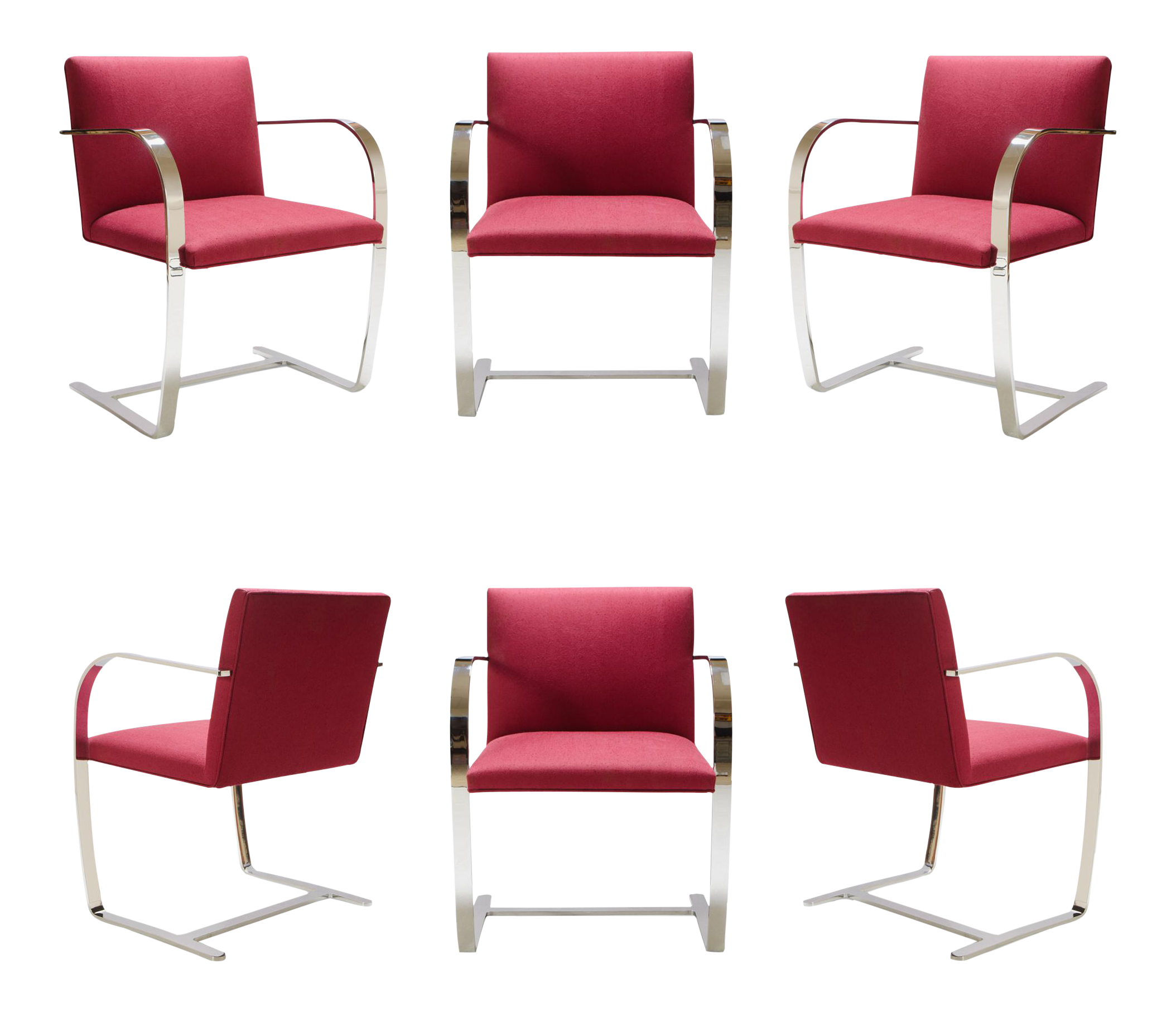 Mies Van Der Rohe for Knoll Brno Flat Bar Chairs in Merlot