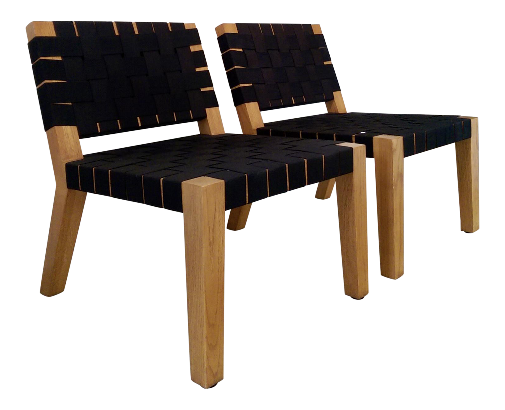 jens risom style black strapped oak lounge chairs a pair chairish