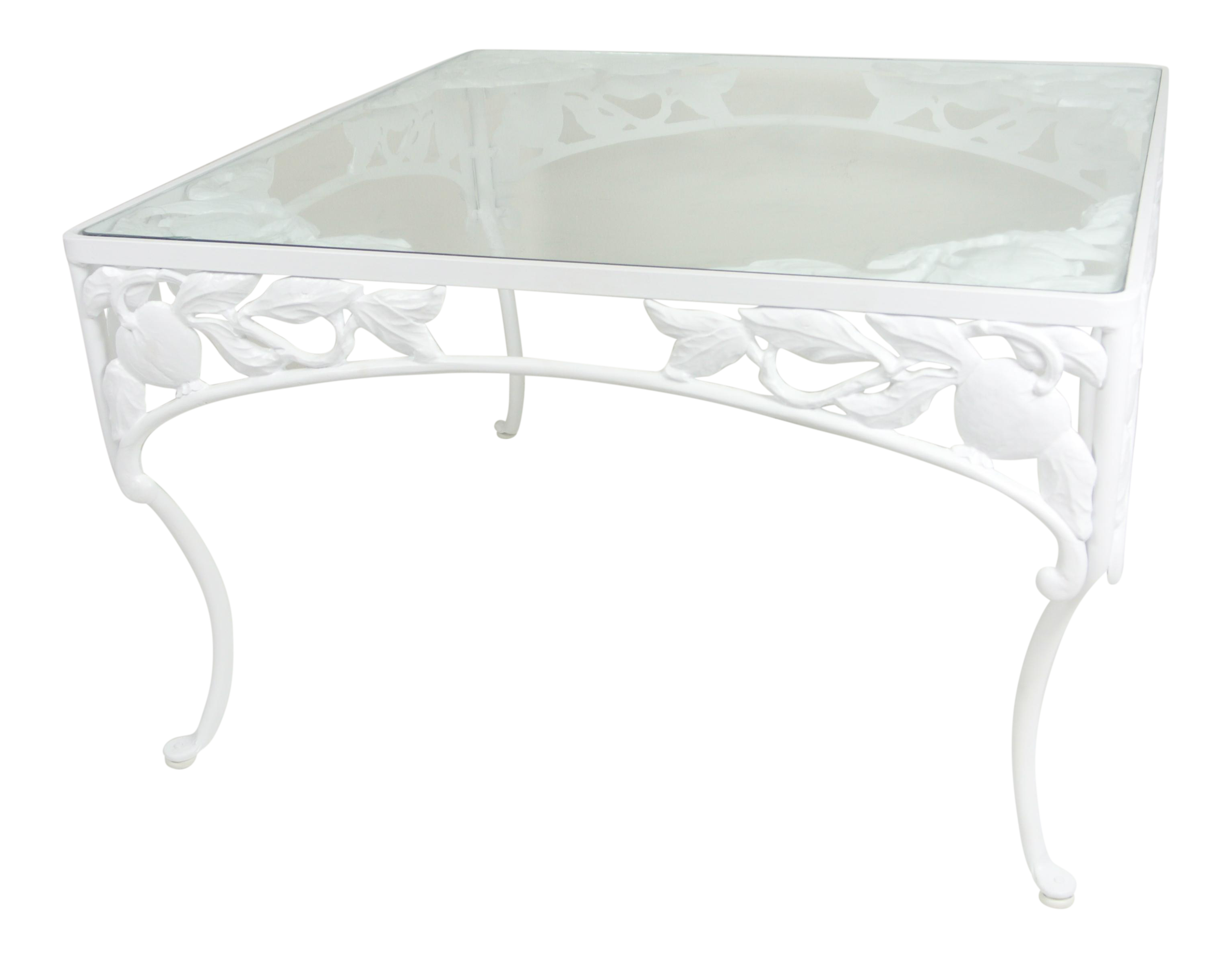 brown jordan pomegranate white wrought iron coffee table chairish