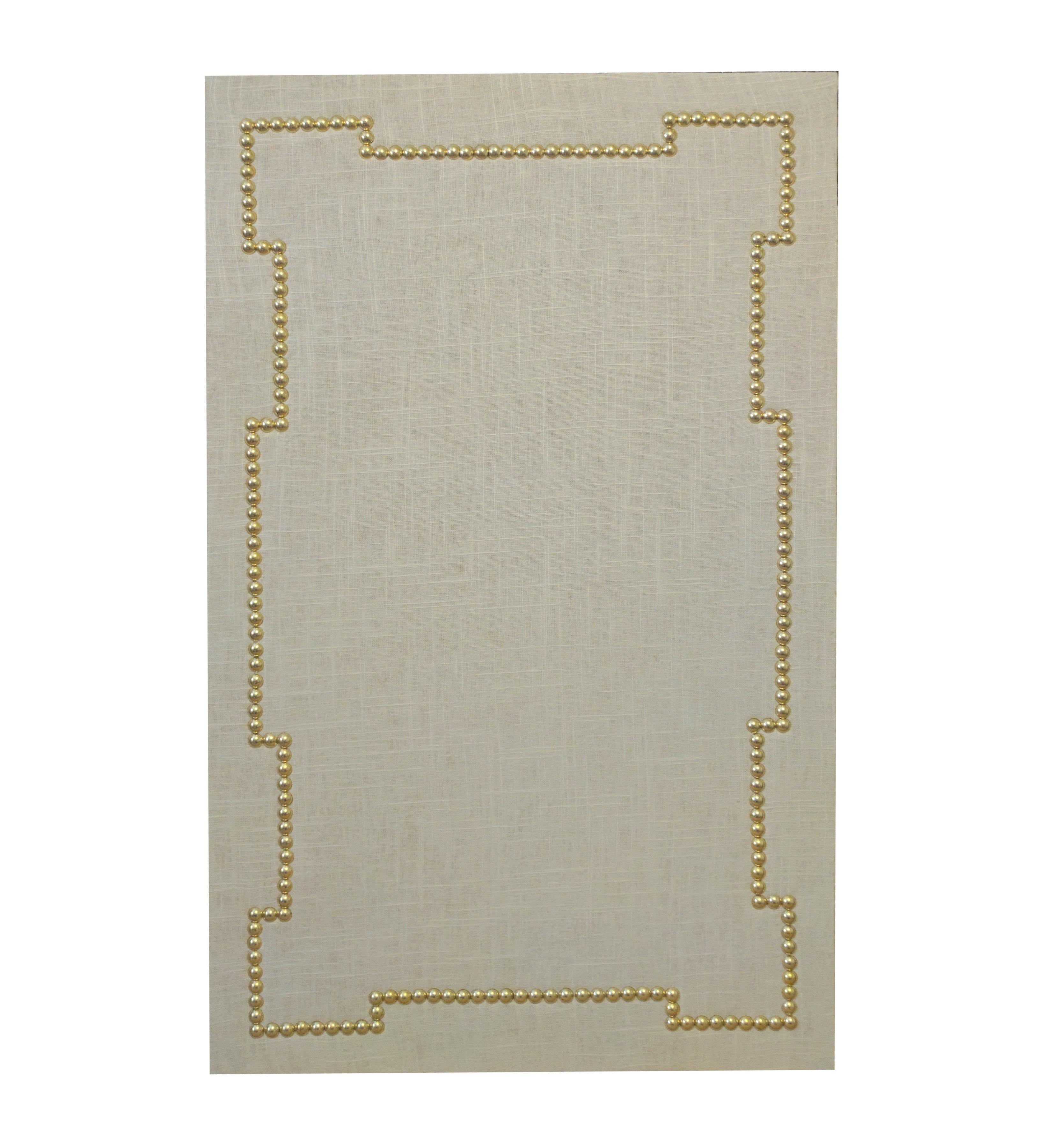 Linen upholstered cork board with nailhead trim chairish for Linen cork board
