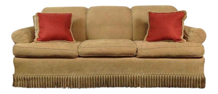 leejofa fringed sofa matching throw pillows chairish. Black Bedroom Furniture Sets. Home Design Ideas