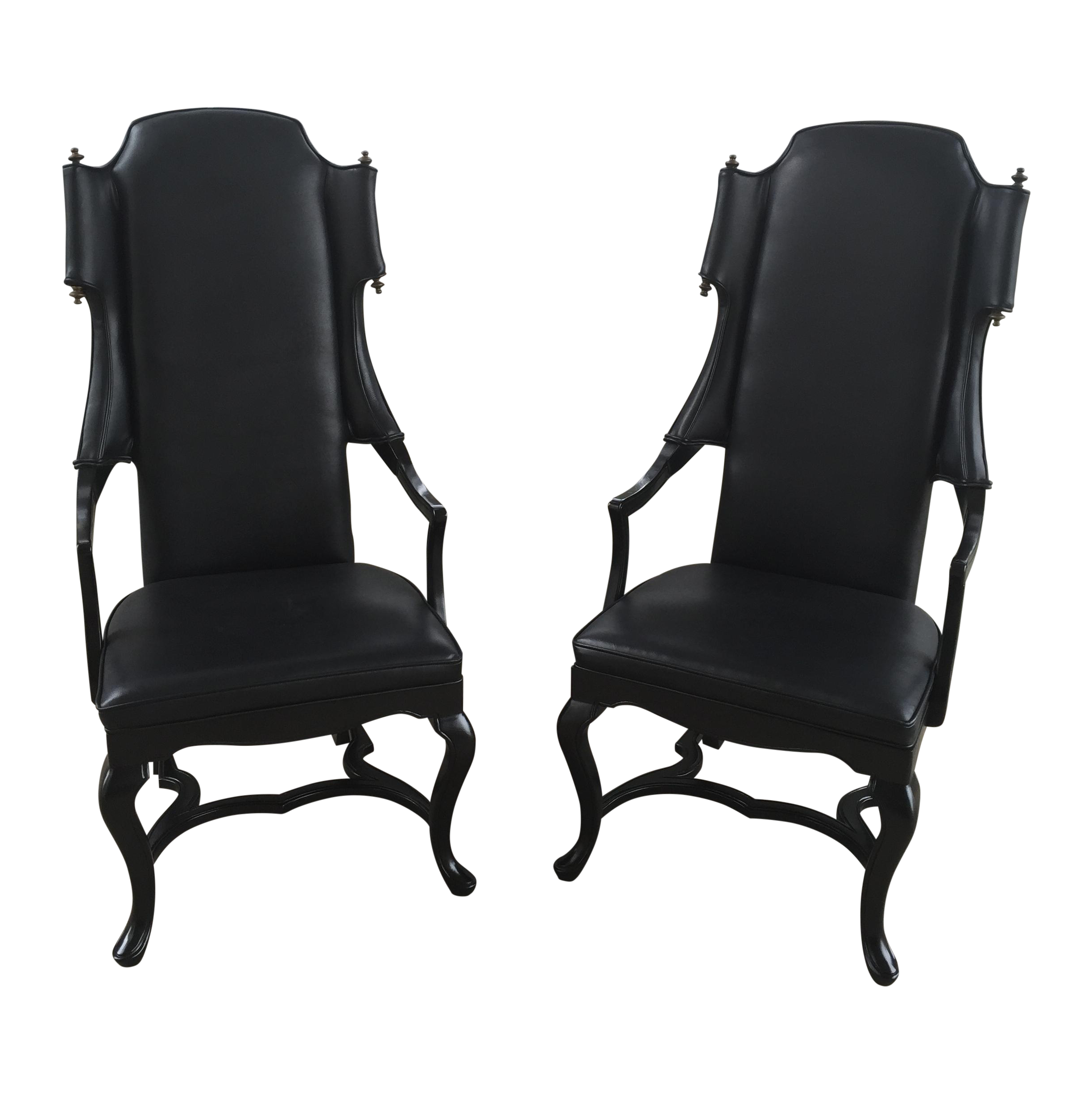 Jim Peed for Drexel Tall Wingback Chairs A Pair