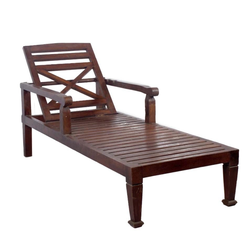 Teak Wood Chaise Lounge Chair Chairish