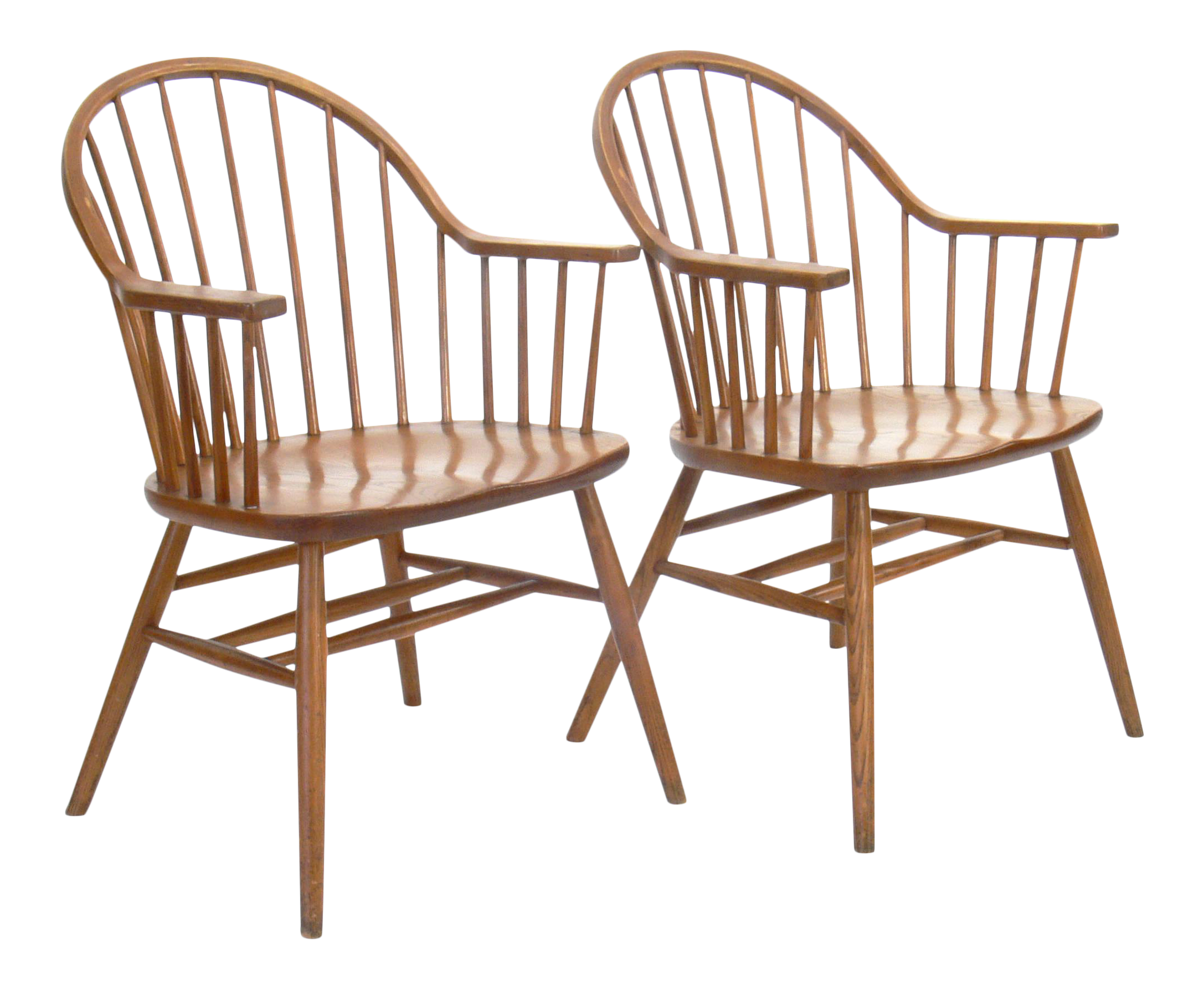 Claud Bunyard for Nichols & Stone Bow Back Windsor Chairs A Pair