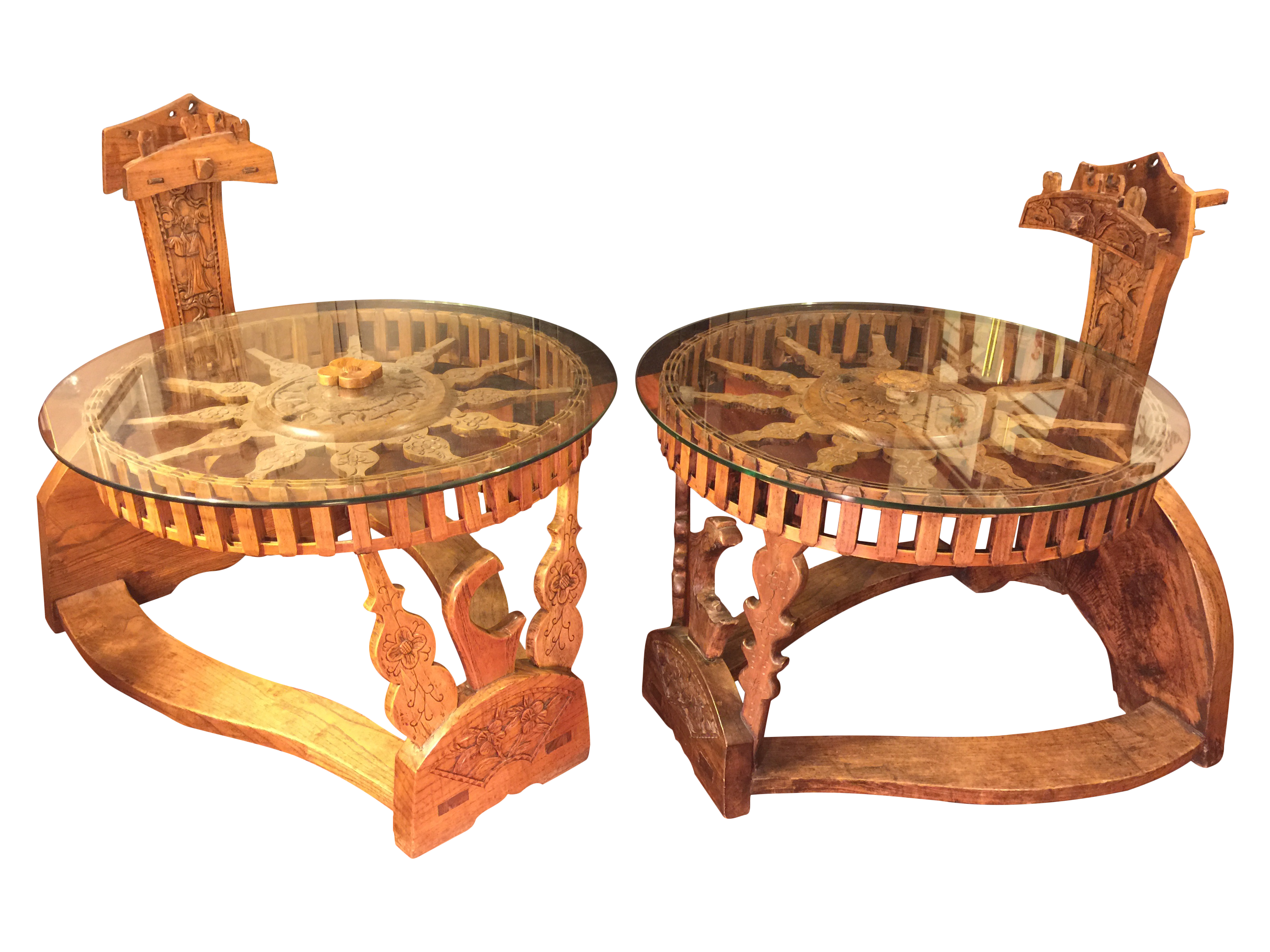 Tibetan End Tables With Repurposed Spinning Wheels