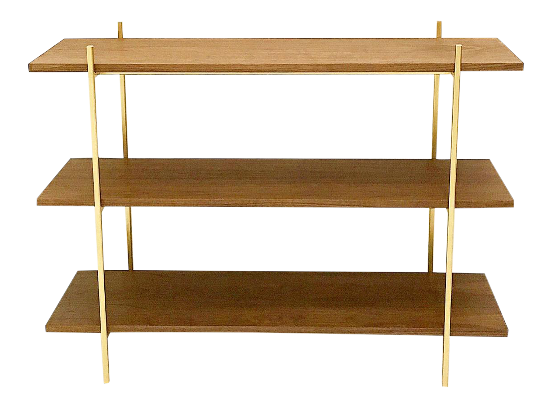 Walnut & Gold Low Book Shelf
