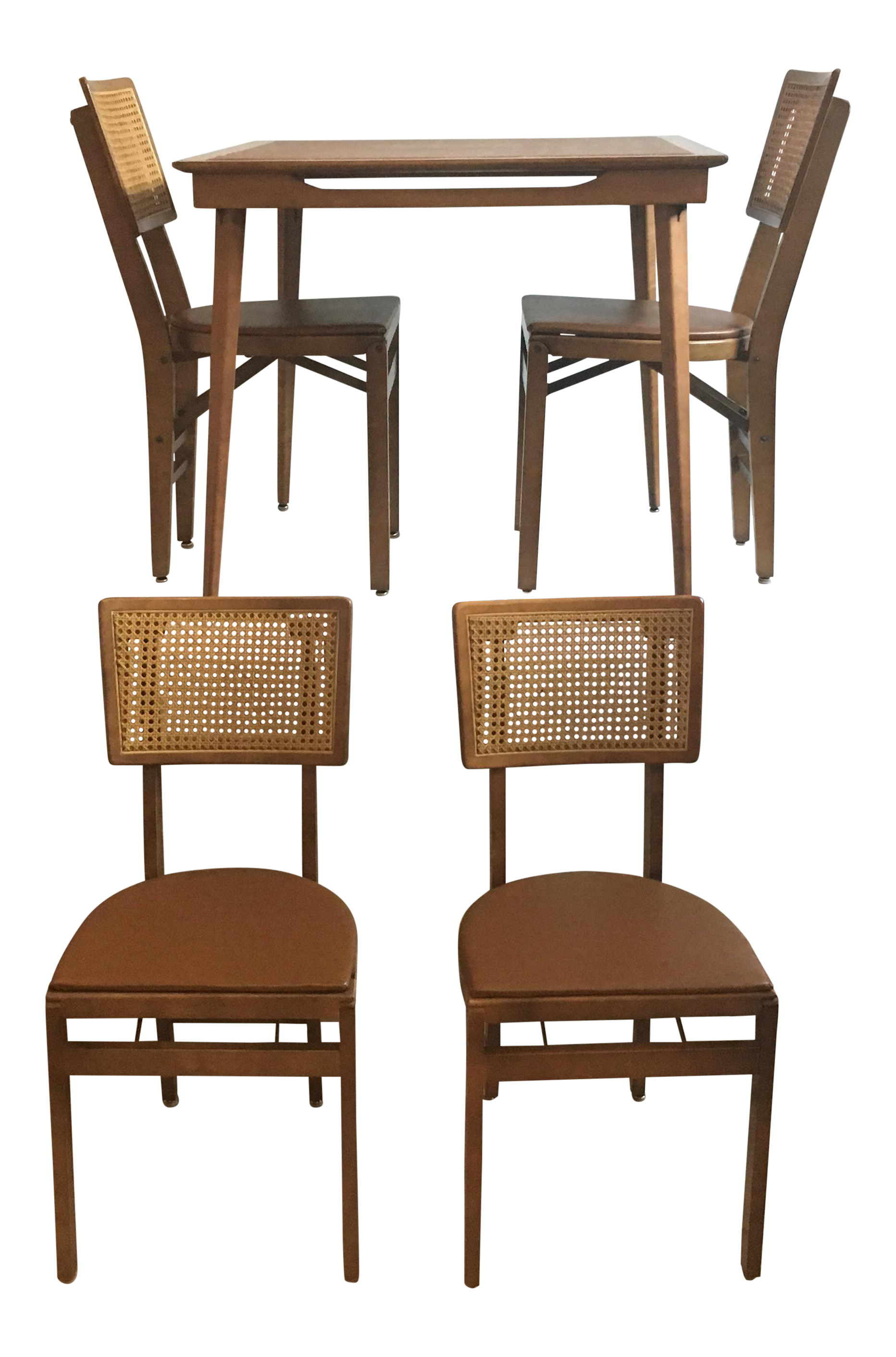 Game Table Chairs - Image of mid century folding wooden game table 4 chairs