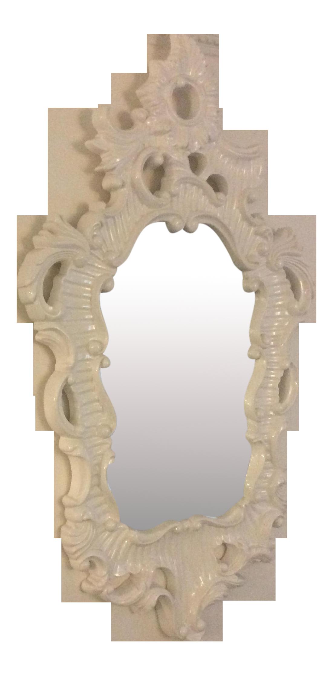 baroque white lacquer mirror chairish