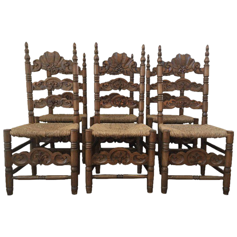 Set Of Six Chairs Turned And Carved Wood With Straw Seat